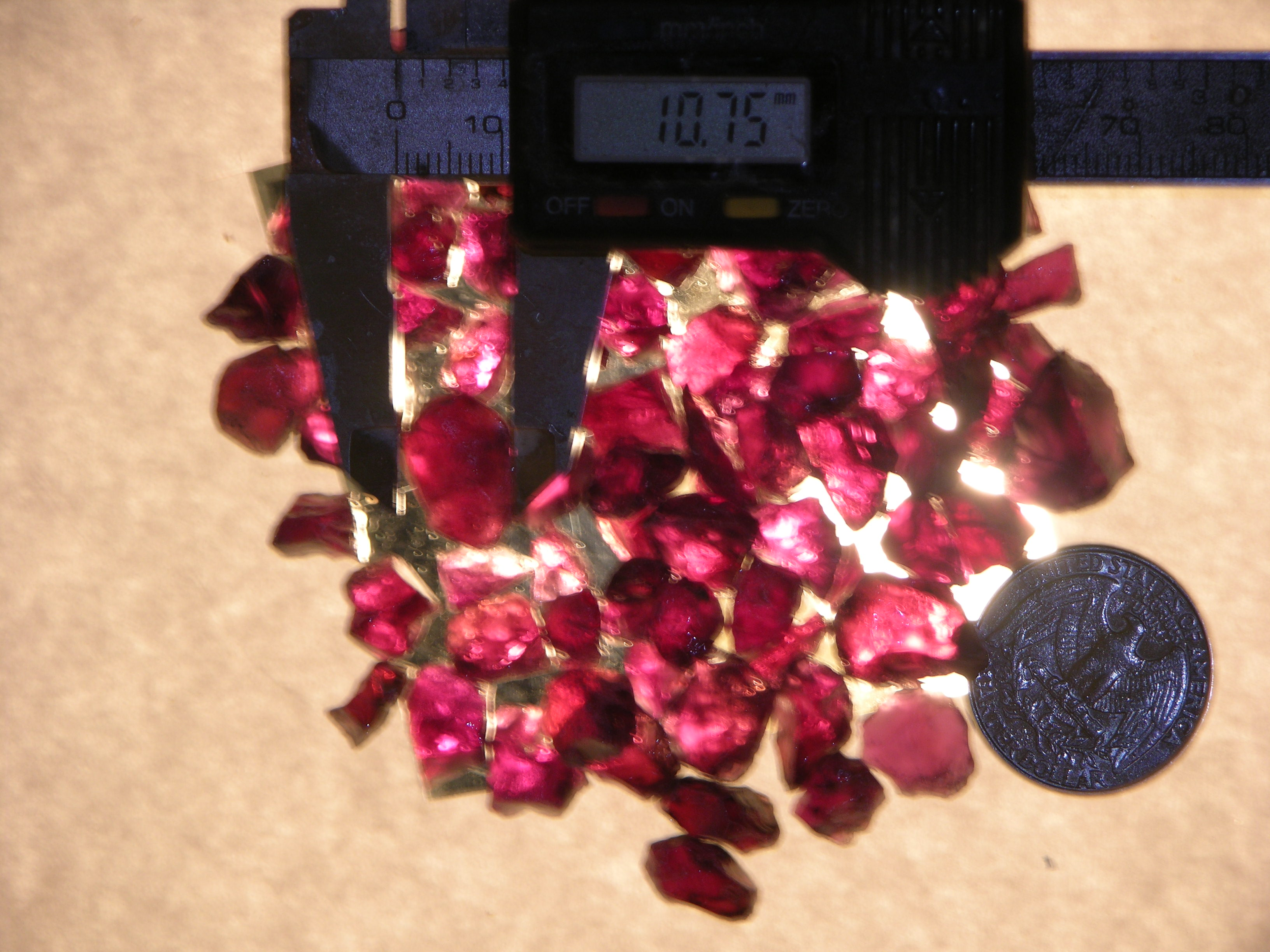 Rough Garnet grape in color From Africa in crystal point form