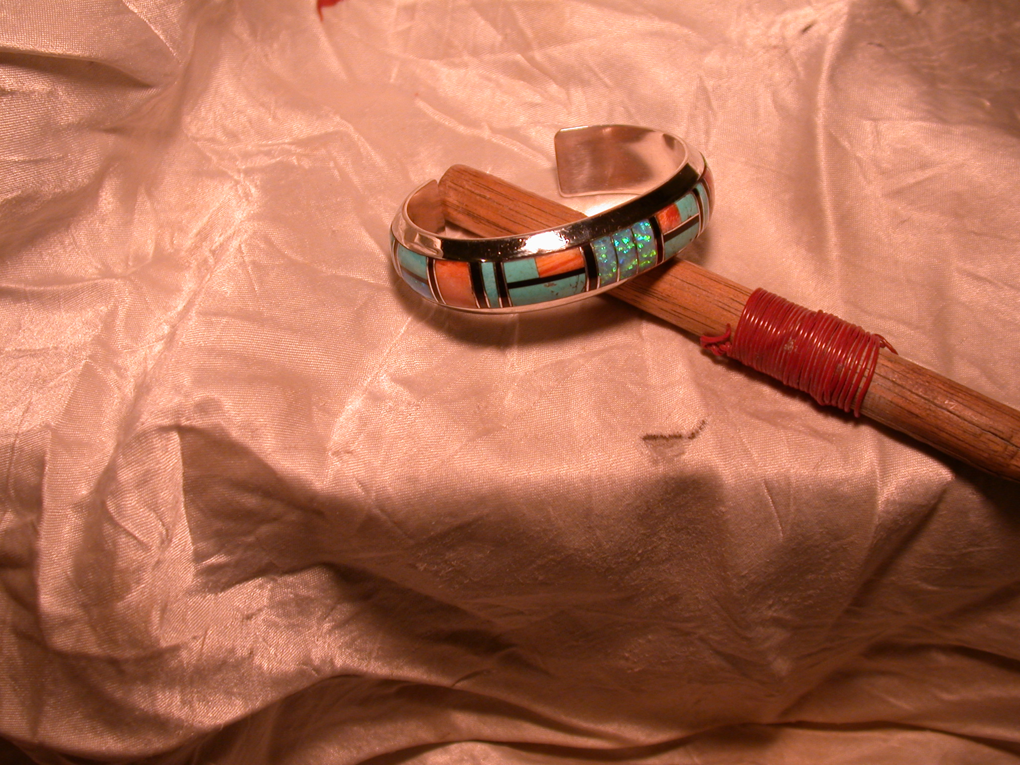 Inlaid turquoise jewelery repair