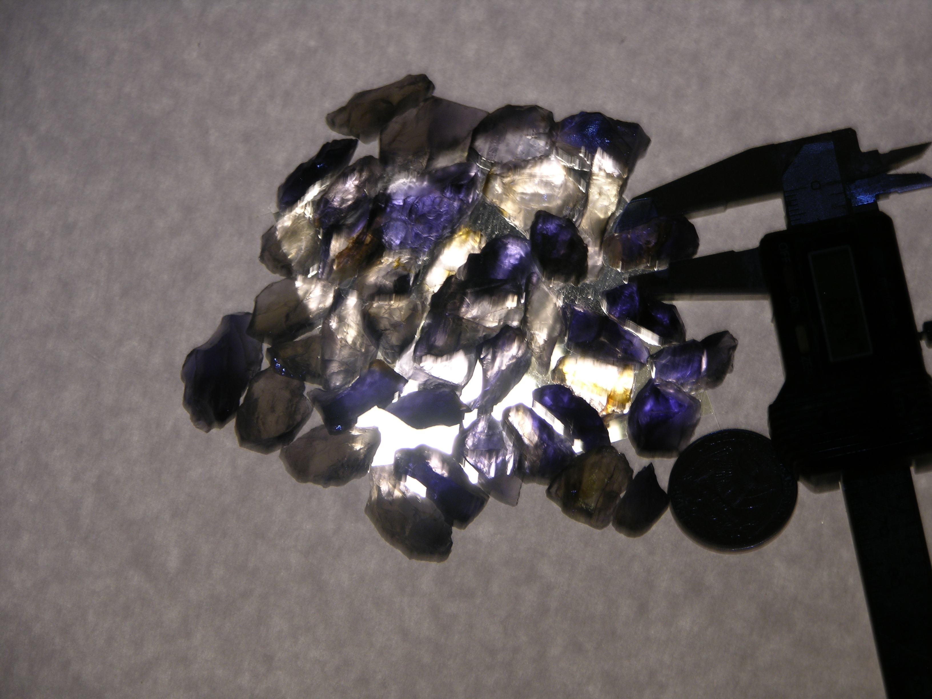 Iolite gemstone rough parcel material